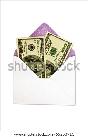 isolated dollars is in an envelope on a white backround
