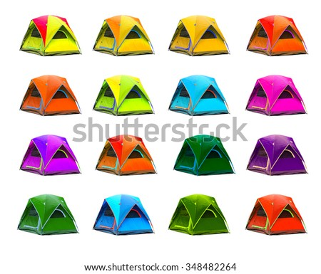 Isolated dome tents with clipping path - stock photo