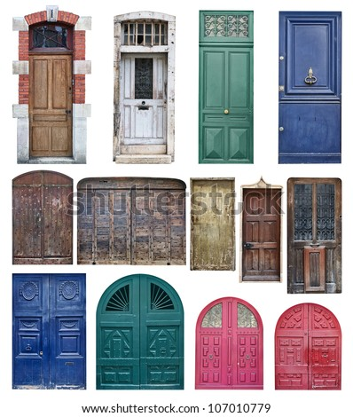 Isolated door. Collection of old wooden doors of different shapes isolated on white background  sc 1 st  Shutterstock & Isolated Door Collection Old Wooden Doors Stock Photo 107010779 ...