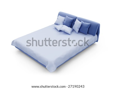 isolated double bed against white background - stock photo
