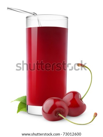 Isolated drink. Glass of cherry juice and two cherries isolated on white background
