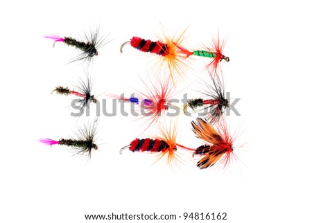 Isolated dry fishing flies