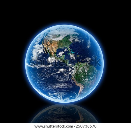 Isolated Earth  Reflected - Elements of this Image Furnished by NASA - stock photo