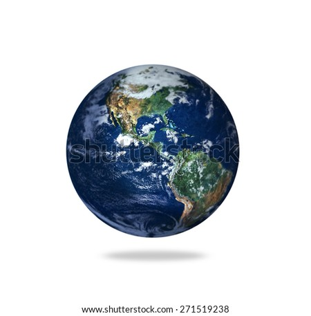Isolated Earth With Depth of Field Effects - Elements of this Image Furnished by NASA - stock photo