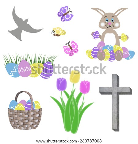 isolated easter collage with egg basket bunny tulip flowers green grass butterflies cross and dove - stock photo