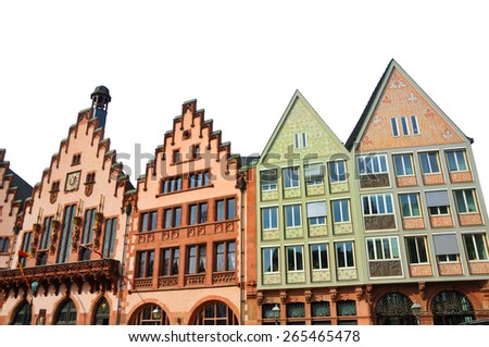Isolated Eastern facade of the Romer - a medieval building in Germany. It is made in Altstadt of Frankfurt am Main - a historical center of the city, which existed from the 8th century - stock photo