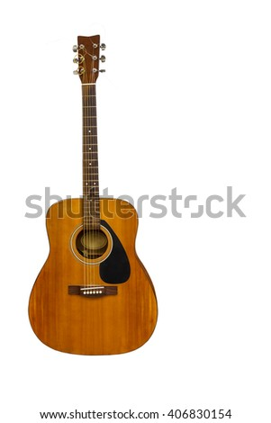 Isolated electric classic guitar on white with clipping path - stock photo
