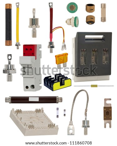 Isolated electronic components including fuse, cutout, Automatic circuit breaker - stock photo