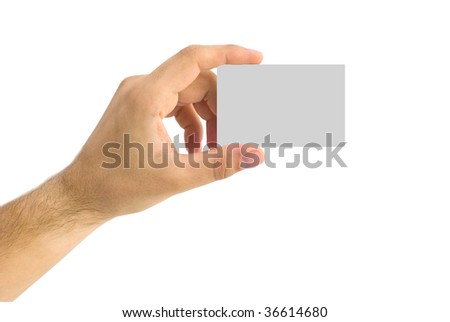 isolated empty business card in a human hand