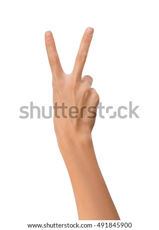 Isolated Empty open woman female hand in position of Peace Sign on a white background