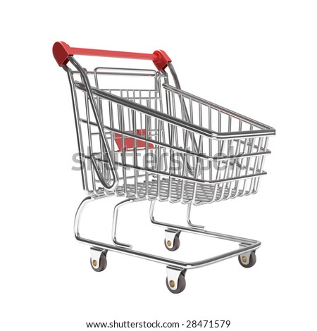 isolated empty shopping cart in a typical studio setup. This image contains clipping path for exact isolation from the background