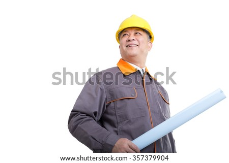 isolated engineer in a hardhat and holding blueprint against white background