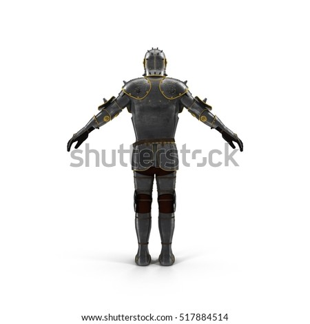 Isolated European Medieval Suit Of Armour or Armor With Helmet on white. 3D illustration