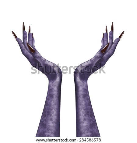 Isolated evil witch hands. Isolated monstrous scary evil witch hands with long claws illustration. - stock photo
