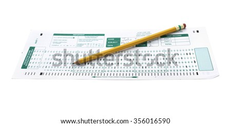 Isolated exam test sheet. Selective focus. - stock photo