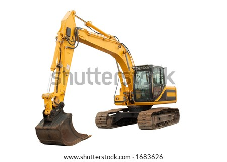 Isolated Excavator with operating weight of 35 000 lb / 16 00 kg - stock photo