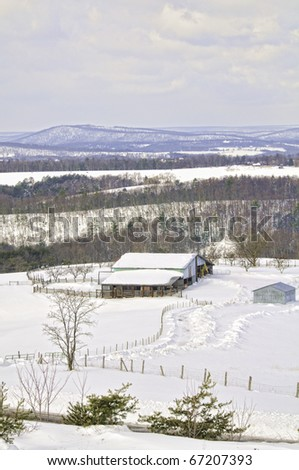 Isolated farm in a snowstorm