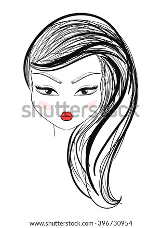 Isolated fashion girl with makeup and red lips in sketch style. Fashion illustration. Women's makeup. Sketch hairstyle, styling. Stylish girl. Fashion person. Fashion face - stock photo