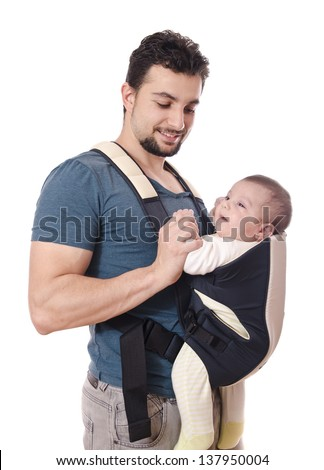 Isolated father carrying little baby. - stock photo