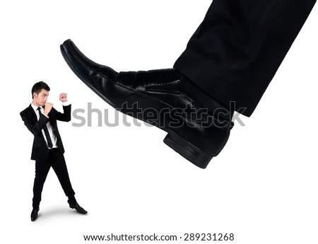 Isolated feet man crushing little business man  - stock photo