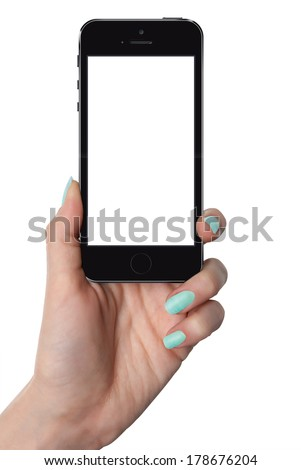 isolated female hand holding smart phone in iphon style with isolated screen - stock photo