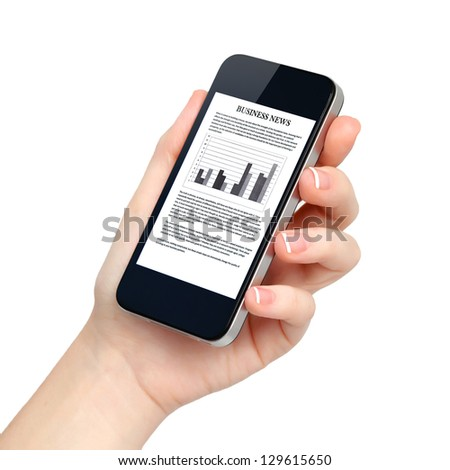 isolated female hand holds the phone tablet touch computer gadget with business news on screen - stock photo