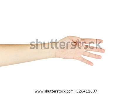 Isolated female hand on a white background.