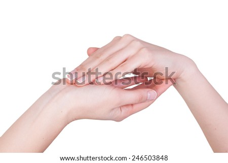 isolated female hand showing symbol