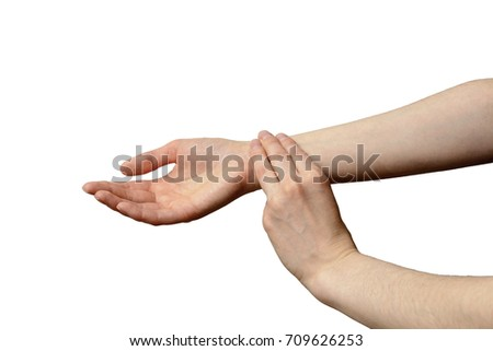 isolated female hand to measure pulse. illustration of healthy lifestyles, high blood pressure, tachycardia