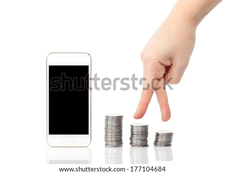 isolated female hand up the steps of the coins to the white touch phone concept of career - stock photo