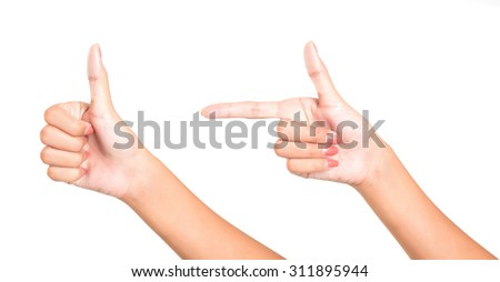 Isolated female hands express different emotions - stock photo
