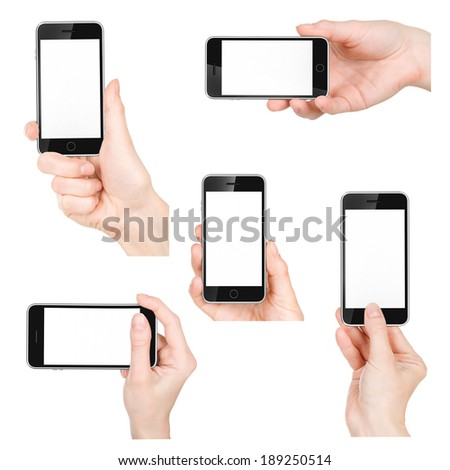 Isolated female hands holding the phone in different ways  - stock photo