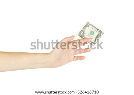 Isolated female's hand holds one dollar on white background.