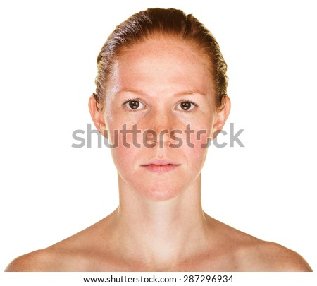 Isolated female with bare shoulders staring ahead - stock photo