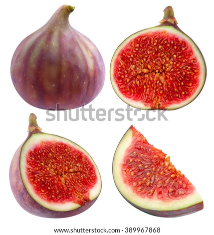 Isolated figs. Collection of whole and sliced fresh fig fruits isolated on white background with clipping path - stock photo