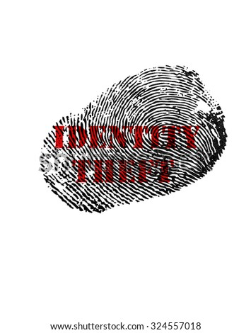 Isolated fingerprint with Identity Theft text in red