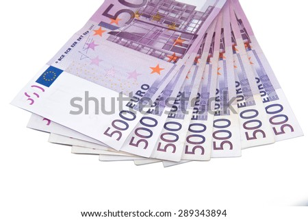 Isolated five hundred Euro banknotes