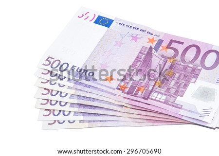 Isolated five hundred Euro banknotes on white background - stock photo