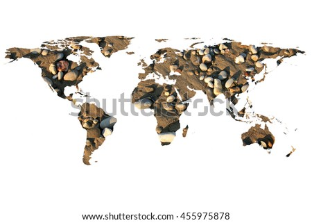 isolated flat world map and stones. NASA flat world map image is used to furnish this image.