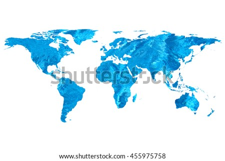 isolated flat world map and water. NASA flat world map image used to furnish this image.