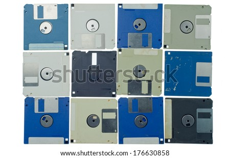 isolated floppy disk retro technology background