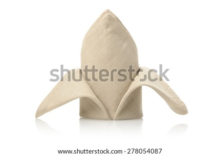 isolated folded napkin over white background