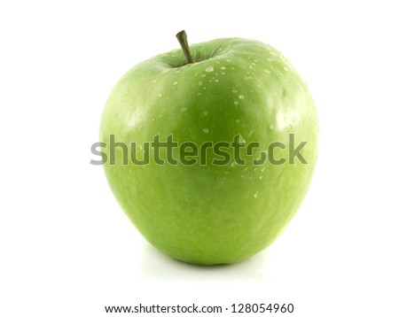 Isolated fresh green apple with water drops. Fresh diet apple. Healthy wet fruit with vitamins.