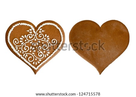 Isolated front and back Christmas gingerbread heart at white background. Blank and icing decorated. - stock photo