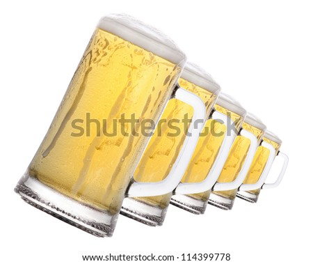 isolated  Frosty glass of beer on a white background - stock photo