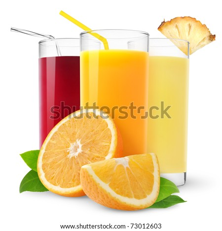 Isolated fruit juices. Three glasses of orange, pineapple and cherry juice and cut orange fruit isolated on white background