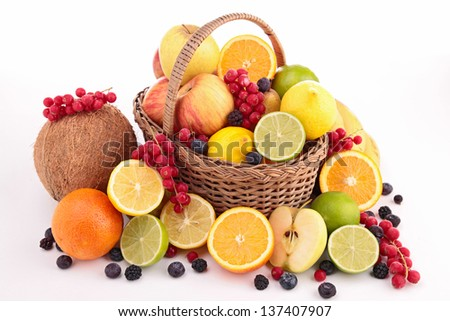 isolated fruits on wicker basket