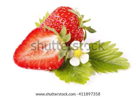 Isolated fruits - Strawberries on white background - stock photo