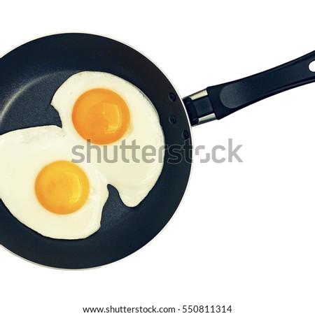 Fried Eggs Frying Pan Egg Shell Stock Vector 318423383
