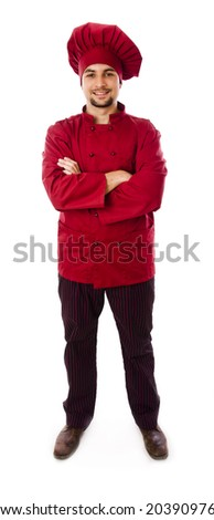 Isolated full bodychef posing on white background smiling - stock photo